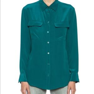 Equipment green signature silk blouse